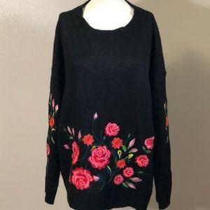 NWOT Umgee umgee Floral Black Sweater - XL